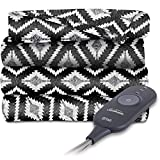 Sunbeam Heated Electric Throw Blanket Fleece Extra Soft, Black and White T