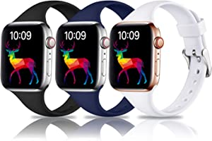 Laffav Slim Band Compatible with Apple Watch 40mm 38mm for Women Men, Soft Silicone Narrow Thin Sport Replacement Strap for iWatch SE & Series 6 & Series 5 4 3 2 1 (3P-Black/Blue/White, 38mm/40mm S/M)