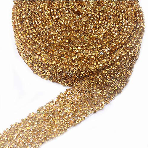 - EORTA 1Yard X 3CM Rhinestone Beaded Trim Sparkling Crystal Rhinestone Hotfix Ribbon Iron on Applique Bling Chain Banding Belt for DIY Wedding Bridal Dress Embellishment Phone Wall Decor, Gold