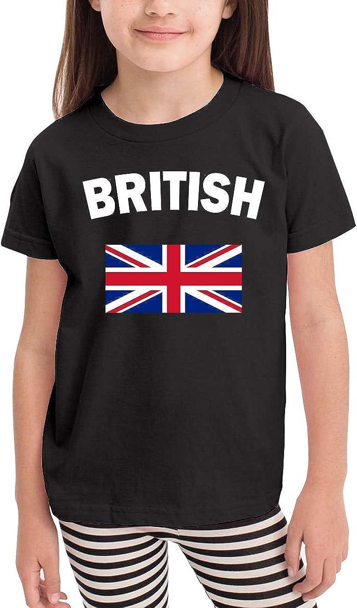 HTUAEUEHRH British Flag Cute Toddler//Infant Short Sleeve Shirt Tee Jersey