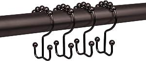 Zenna Home NeverRust Rustproof Double Roller Glide Curtain Ring, Oil Rubbed Bronze, Set of 12 Shower Hooks