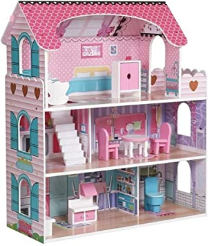 Hygrad Kids Wooden Three Levels Victorian Wooden Doll House With Furniture Set For Role Play Design 1 Amazon Co Uk Toys Games