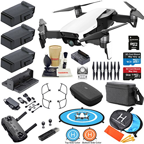 DJI Mavic Air Fly More Combo (Arctic White) With 3 Batteries, 4K Camera Gimbal Bundle Kit with Must Have Accessories Arctic White Sphere