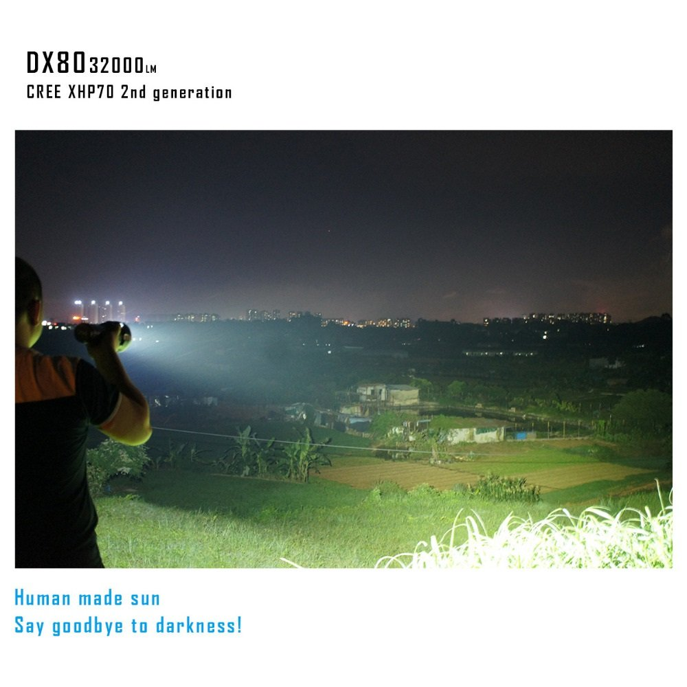 DX80 Cree XHP70 LED Flashlight 32000 Lumens 806 Meters USB Charging Interface Torch Flashlight