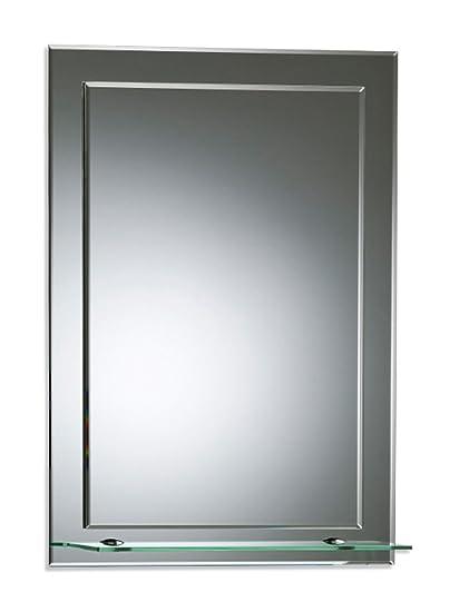 Bellissimo specchio da bagno rettangolare con mensola, moderno ed ...