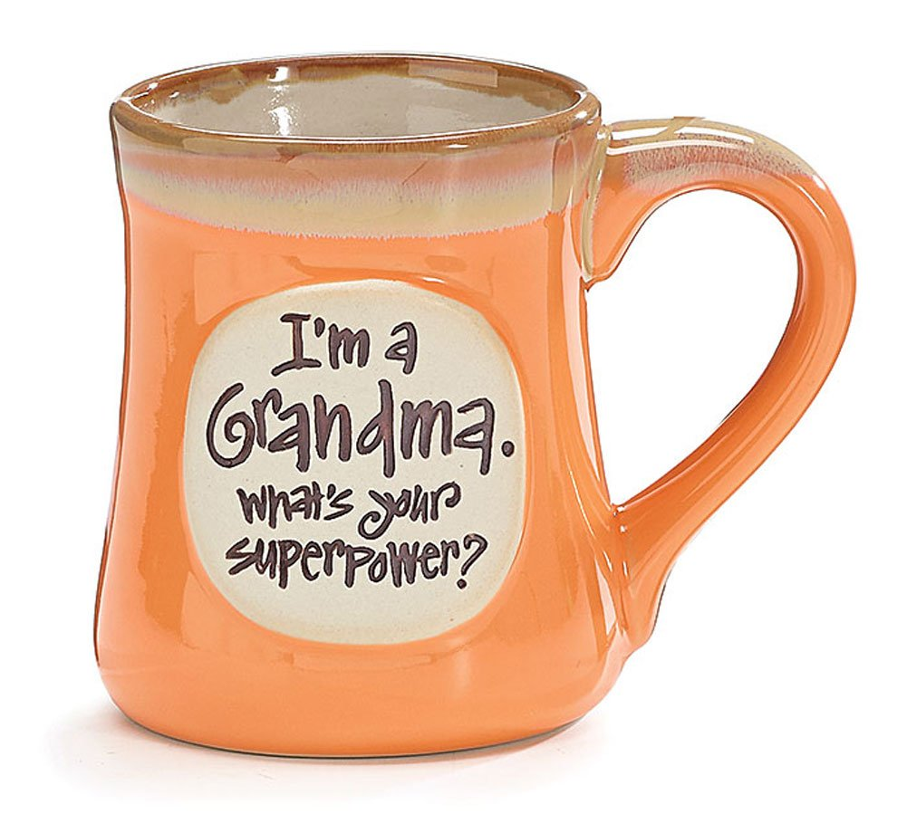 ''I'm a Grandma, What's Your Superpower'' 18 oz Porcelain Coffee Cup Mug