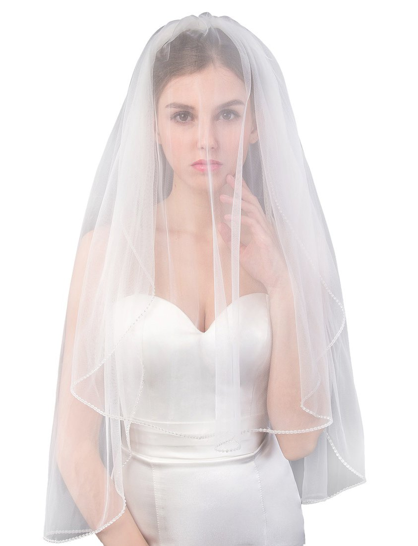 EllieHouse Women's Short 2 Tier Beads Ivory Wedding Bridal Veil With Comb L40IV by EllieHouse