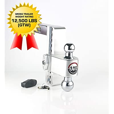 """Weigh Safe 180 HITCH CTB8-2 8"""" Drop Hitch, 2"""" Receiver 12,500 LBS GTW - Adjustable Aluminum Trailer Hitch Ball Mount & Chrome Plated Combo Ball, Dual Pin Keyed Lock: Automotive"""
