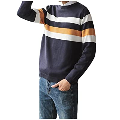 Abetteric Men Conjoin Color Pullover Long Sleeve Knitting Tunic Top