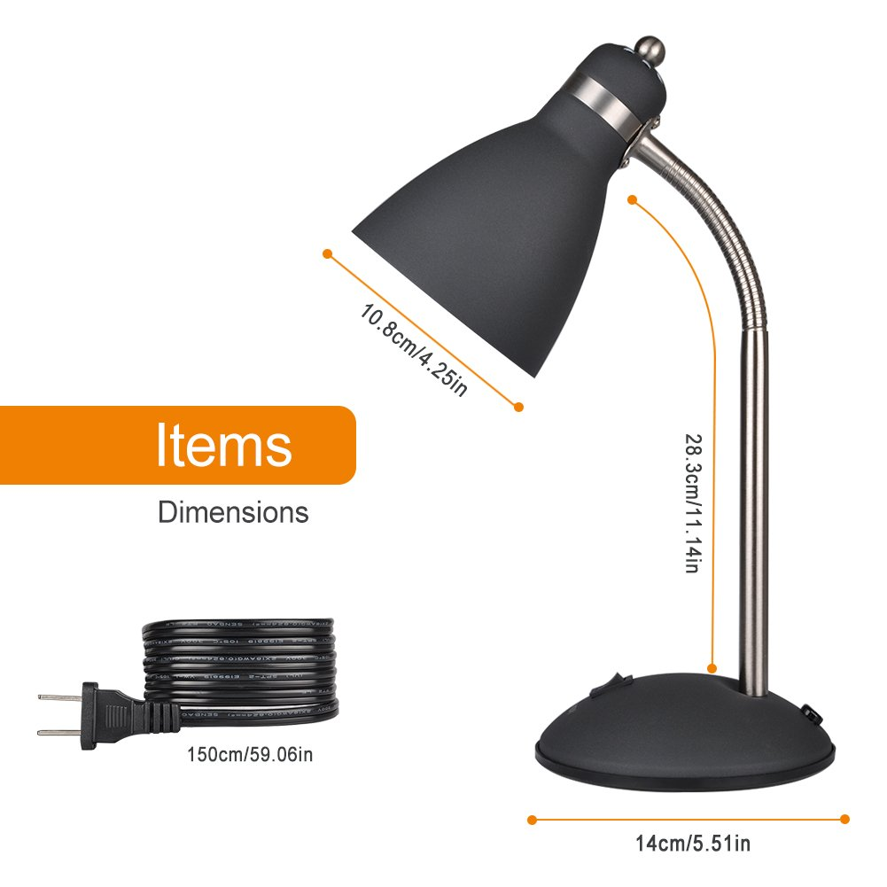 LEPOWER Metal Desk Lamp, Flexible Goose Neck Table Lamp, Eye-Caring Study Lamps for Bedroom and Office (Black) by LEPOWER (Image #5)