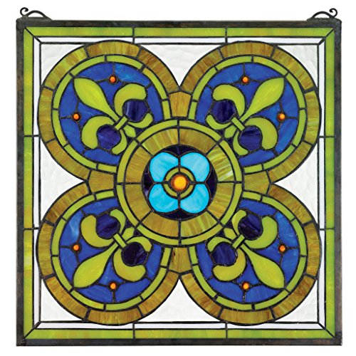 Gothic Stained Glass Windows - Stained Glass Panel - Fleur de Lis Quatrefoil Stained Glass Window Hangings - Window Treatments
