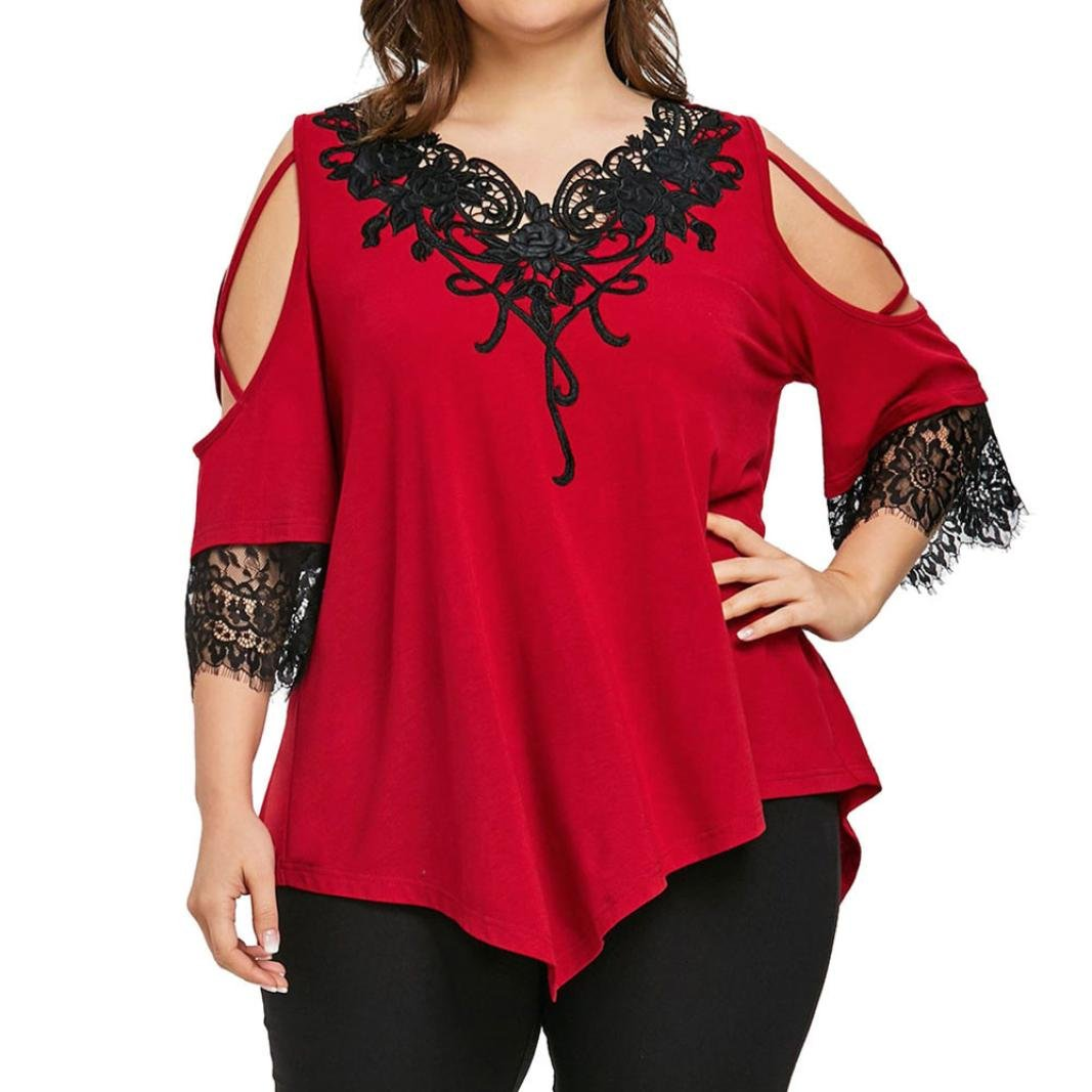 Plus Size Lace Short Sleeve Cold Shoulder Blouse for Women Fashion 2018 Womens Summer Tops (5XL, Red)