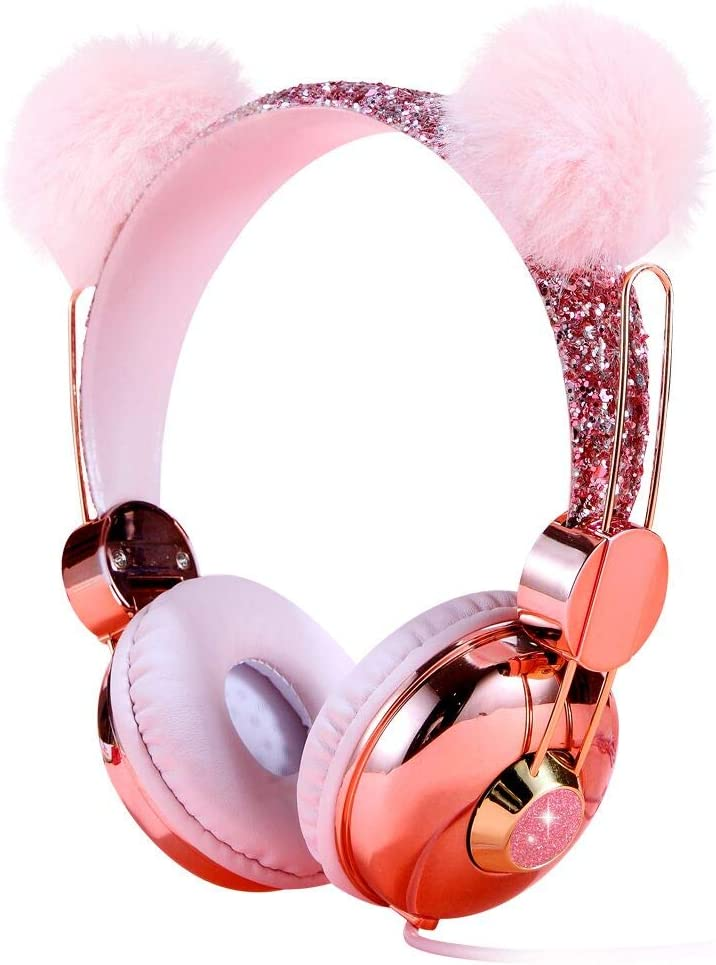 Kids Headphones, Wired Over Ear 85dB Volume Limiting Headphone for Kids Girls Children Teens School, Pink Plush Bear Ear Sparkly Headband Anime Headphones with MIC for Cell Phones Tablets MP3/4