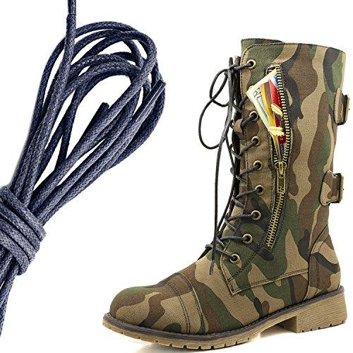 Dailyshoes Damesschoen Met Militaire Veters En Gesp Halfhoge Exclusieve Exclusieve Creditcardzak, Marine Klassiek Leger
