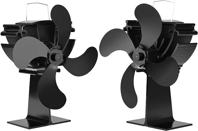 Ventilador De Estufa Ventiladores De Quemador De Madera De 5 Palas Ventiladores Ventiladores De Estufa Alimentados Por Calor Para Chimenea Le/ña Ventilador De Chimenea Ventilador Ecol/ógico Y Eficien