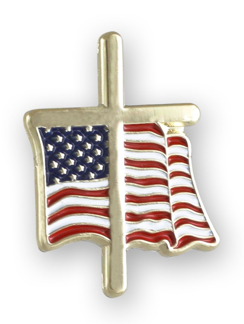 American Flag with Religious Cross Lapel Pin (50 Pins) by Forge (Image #4)