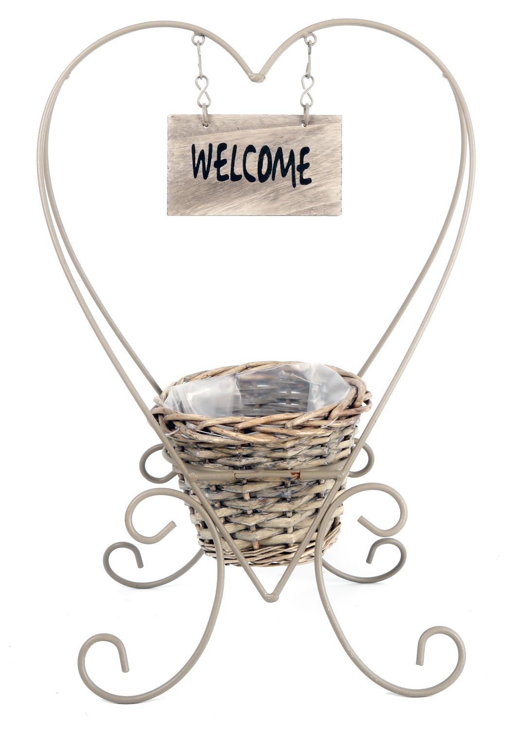 Metal Heart Standing Plant Holder with Basket - Welcome SIL