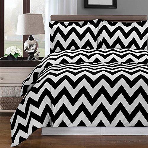 Luxury 3pc - Chervon- Black with White- King/Calking Duvet cover set 100% Cotton 300 thread count fiber reactive prints duvet set By sheetsnthings