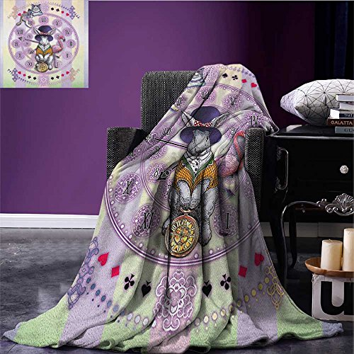 Animal Wearable Blanket Alice in Wonderland Rabbit and Cat Fiction Story Novel Child Display Story Security Blanket Lilac Pale Yellow Size:51