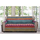 MN 1 Piece Orange Red Southwest Sofa Protector, Blue Grey Geometric Stripe Pattern Southwestern Theme Protection Couch Hippie Style Motif Chevron Striped Boho Chic Furniture Cover Pets, Polyester