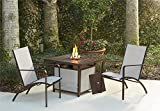 Cosco Outdoor Conversation Set, 3 Piece, Including Propane Fire Pit Table, Tan Sling Chairs, Brown Mixed Media Frame Review