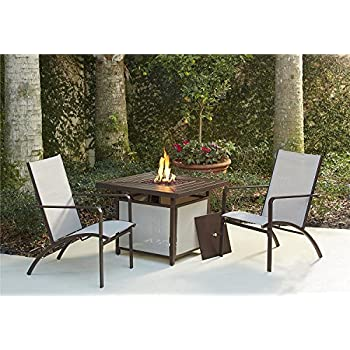 Cosco Outdoor 3 Piece Stone Lake Patio Set with Propane Fire Pit, Brown Frame & Tan Sling Chairs