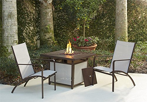 - Cosco Outdoor Conversation Set, 3 Piece, Including Propane Fire Pit Table, Tan Sling Chairs, Brown Mixed Media Frame