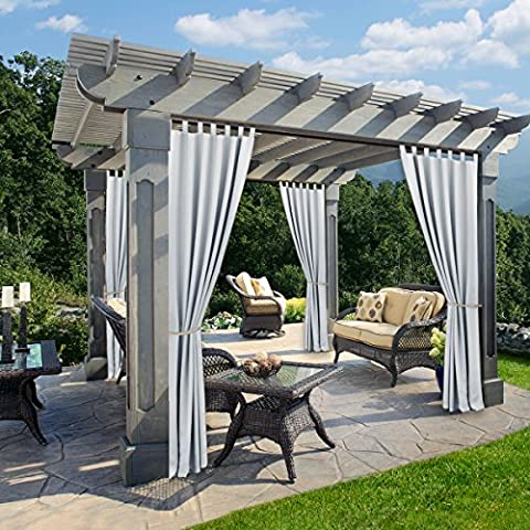 Outdoor Indoor Patio Curtain Drape - RYB HOME Mildew Resistant Water Repellent Polyester Tab Top Blackout Curtains for Porch, 1 Piece, W 52 x L 84 In, Greyish (Screen Porch Systems)