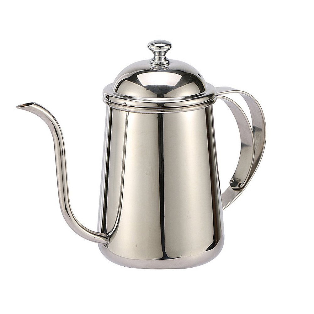 304-Stainless Steel Hand Drip Coffee Kettle Pot 650ML Thin Mouth Pot Long Drip Coffee Maker Pot Very Slender Mouth,(Silver)