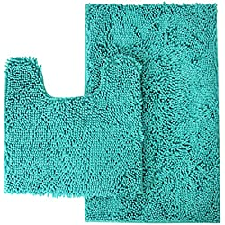 "Mayshine Bathroom Rug Toilet Sets and Shaggy Non Slip Machine Washable Soft Microfiber Bath Contour mat (Turquoise,32"" 20""/20"" 20"" U-Shaped)"