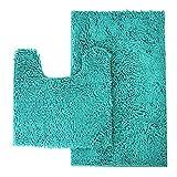 Mayshine Bathroom rug toilet sets and Shaggy Non slip Machine washable Soft Microfiber bath Contour mat (Turquoise,32'20'/20'20'U-Shaped)