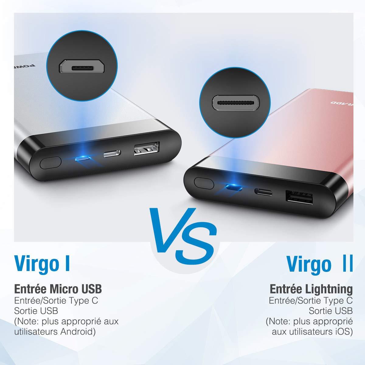 POWERADD Batterie Externe de Secours pour iPhone 2 Sortie (USB+Type C 2 Entrée (Type C + Lightning) avec Affichage Numérique LED - Rouge Doré