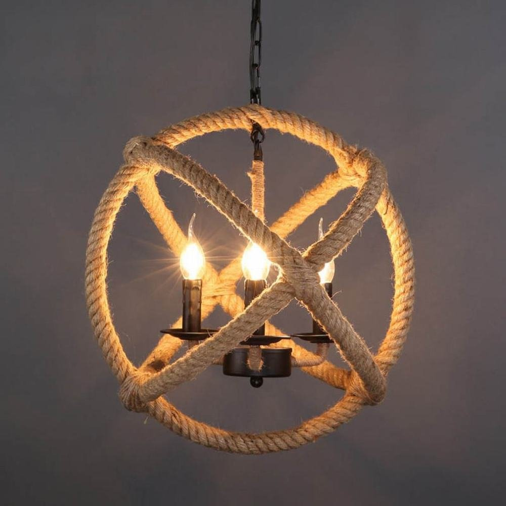 DEN Nordic wrought iron staircase coffee bar bar chandelier,Ordinary bulb,35CM