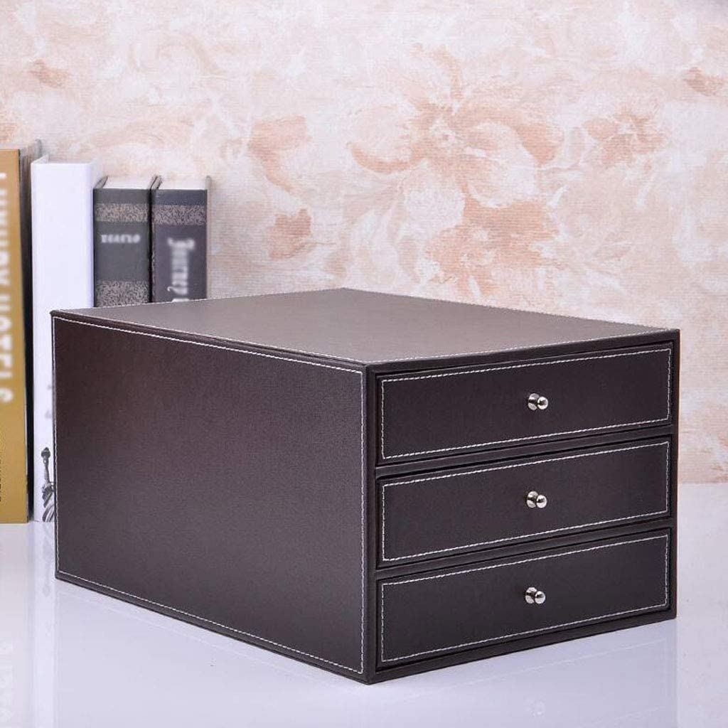 Color : Brown LKJH Drawer Type Desktop File Cabinet Artificial Leather Handle 3-Layer Storage Information Office Data Cabinet