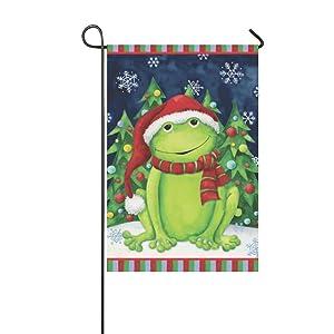 "Small Mim Cute Christmas Scarf Frog Garden Flag Holiday Decoration Double Sided Flag 12.5"" x 18"""