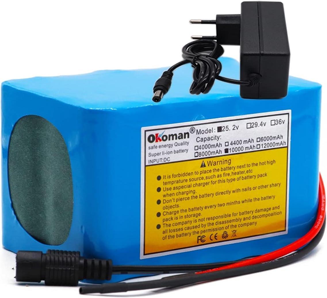 HJGHY 6s4p de Alta Capacidad 24V 10Ah 18650 Paquete de batería de Iones de Litio 25,2 V 10000 mAh Bicicleta ciclomotor Herramientas eléctricas batería con Cargador BMS +