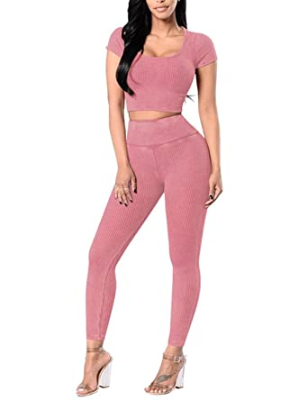 90afaddb60151 Women's Sexy Short Sleeve Crop Tops High Waist Long Legging Pants 2 Piece  Outfit