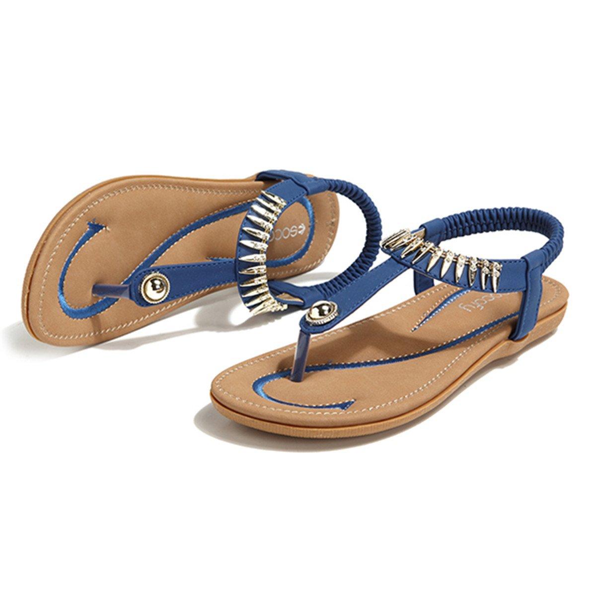 Socofy Bohemian Sandals,Women's Metal Elastic Flat Sandals Summer Bohemia Style Clip Toe Flip Flops Shoes Blue 9 B(M) US by Socofy (Image #6)