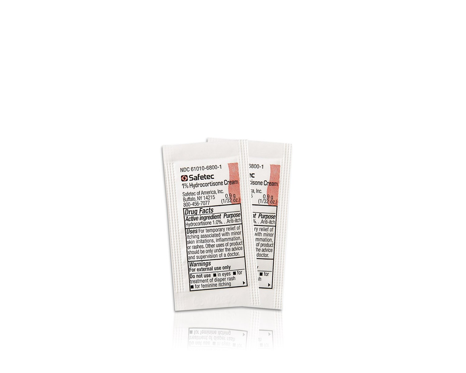 Safetec Hydrocortisone 1% Cream, .9 g. pouch (bulk package - 2000 count) by Safetec