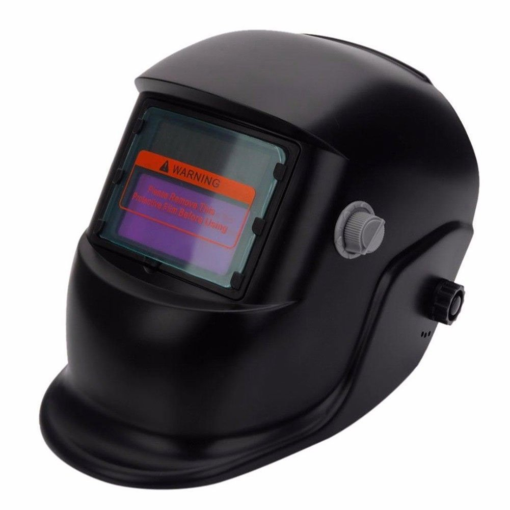 1pc Auto-Darkening Welding Helmet, Solar Powered Full Face Protecting Welding Helmet Mask with Grinding Function, Sensitivity and Delay Time Can Be Adjustable(Black) SUPEWOLD