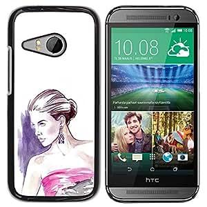 YOYOYO ( NO PARA HTC ONE M8 ) Smartphone Protección Defender Duro Negro Funda Imagen Diseño Carcasa Tapa Case Skin Cover Para HTC ONE MINI 2 M8 MINI - mujer de moda vestido blanco púrpura