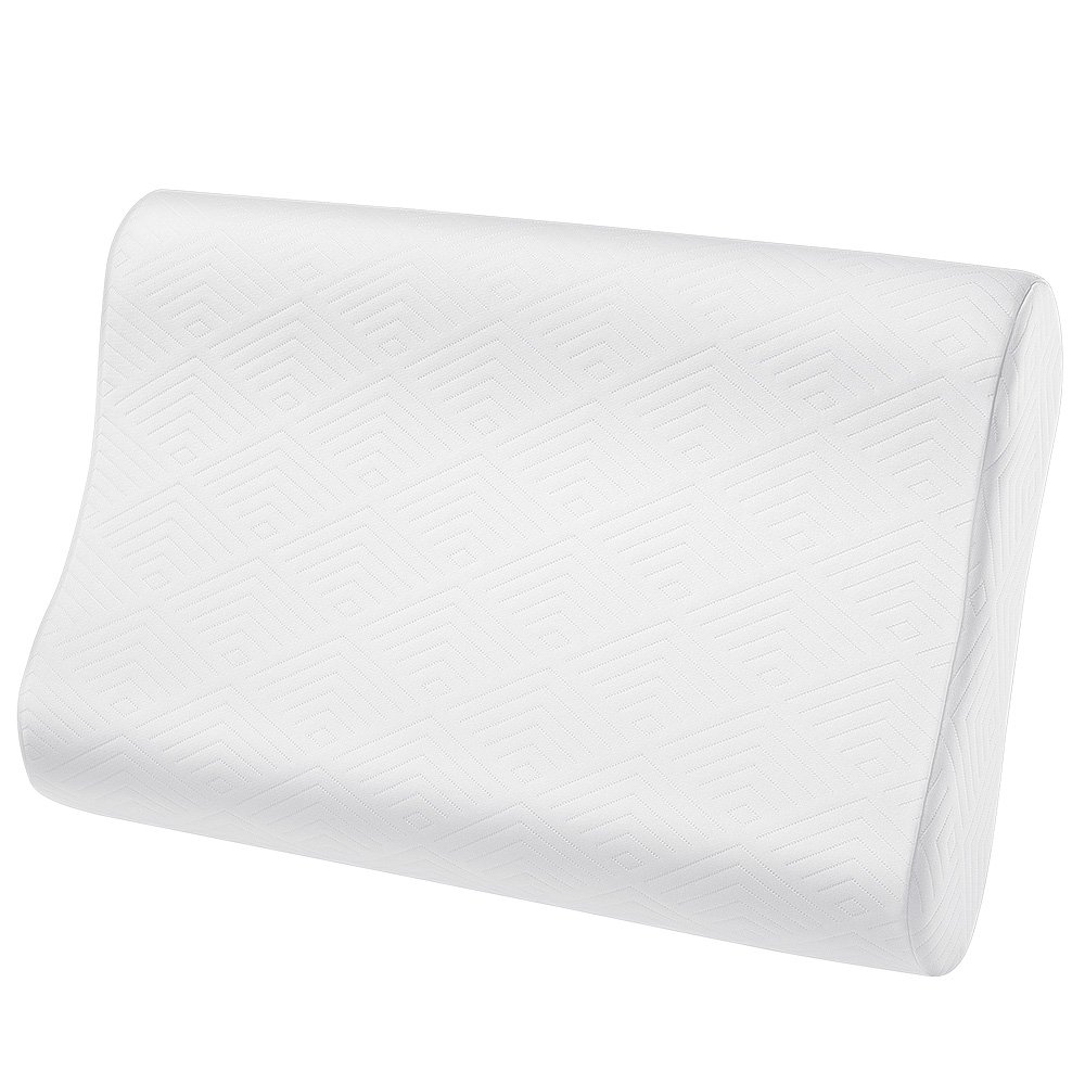 Plemo Memory Foam Contour Pillow, Oeko-TEX and CertiPUR-US Ergonomic Orthopedic Pillows for Sleeping and Hypoallergenic Water-Repellent Cover, Standard