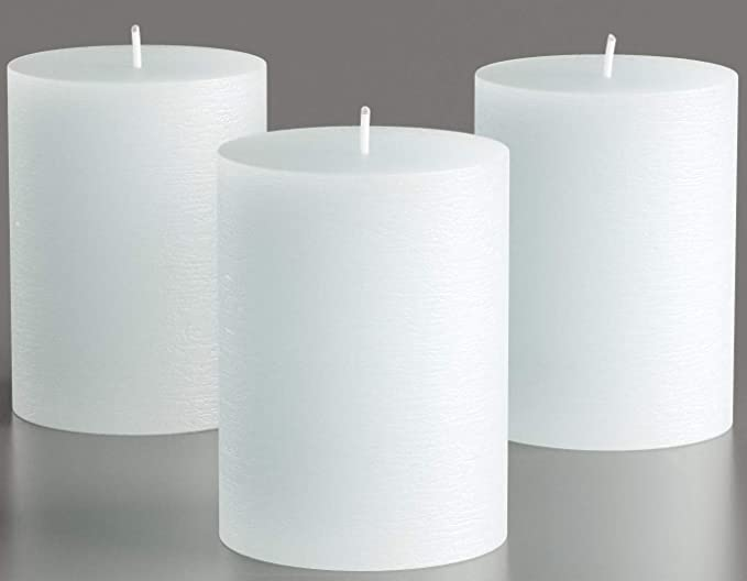 Amazon Com Melt Candle Co White Pillar Candles 3 X 4 Set Of 3 Unscented For Weddings Home Decoration Relaxation Church Spa Smokeless Cotton Wick Home Improvement
