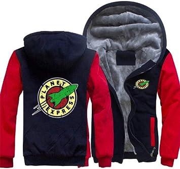 パーカーのフルジッパープラネットエクスプレスプリントベルベットパッド入りのフード付きセーターコートフリースパーカー、冬に適して