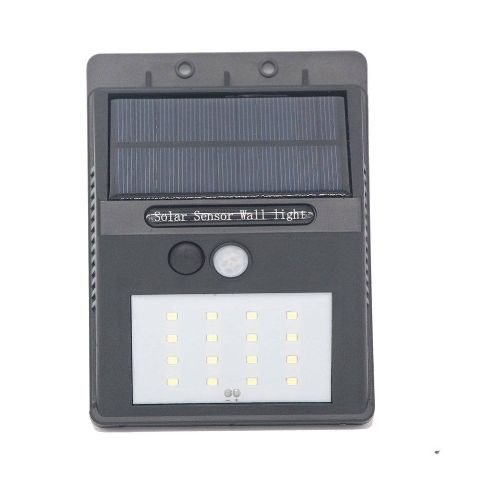 16LED with Push-button Switch Outdoor Solar Motion Lights Built in 2200mah Rechargeable Lithium Battery Solar Wall light for Garden (Black)