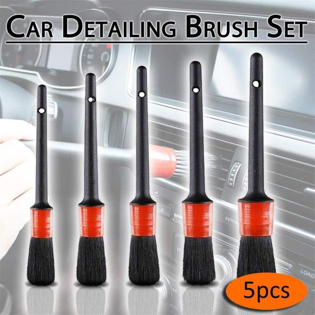 5xCar Detailing Brush Kit Boar Hair Vehicle Interior Washing For Wheel Cleanning