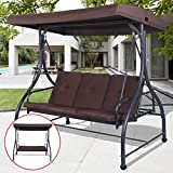 Best Convertible Patio Swing Chair For 3 Person With Canopy And Firm Cushions Perfect Set For Patio, Garden, Outdoor, Porch And Poolside. (Brown)