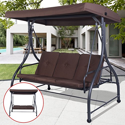 3 Seater Bench Set (Best Convertible Patio Swing Chair For 3 Person With Canopy And Firm Cushions Perfect Set For Patio, Garden, Outdoor, Porch And Poolside. (Brown))