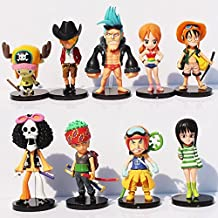 Anime One Piece Mini Action Figures (9pcs/set) The Straw Hats Luffy/Roronoa/Zoro/Sanji/Chopper Figure Toys by Supertoys