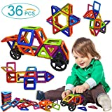 Frolk Magnetic Blocks - Magnetic Building Blocks - Magnetic Tiles Set With 2 Vehicle Wheels For Kids. Best Stem Educational Toys For 3+ Years Old Boys And Girls Best Value For Your Money! 36 Pcs